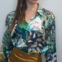 Burcu Tropical Long Sleeve Blouse