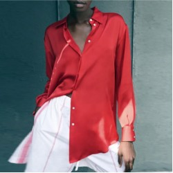 Hitomi Plain Silky Blouse - Blood Red