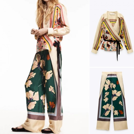 Chelsee Geometric Printed Collared long Sleeve Blouse and Pant Set