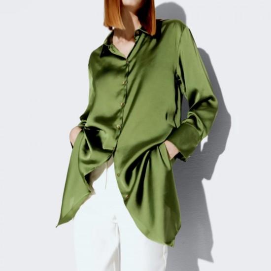 Simone Plain Satin Long Blouse - Green
