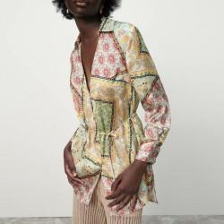Salma Geometric Patchwork Wrap MIni Dress