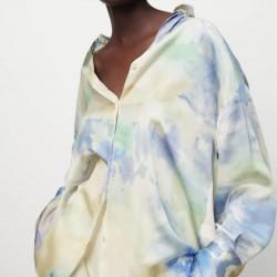 Emilia Soft Rainbow Tie-Dyed Satin Blouse