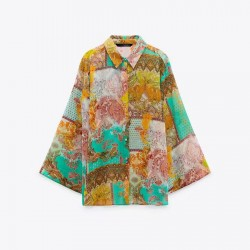 Calen Patchwork Floral Printed Tulle Blouse