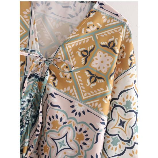 Erine Satin Geometric Printed Bat Sleeve Dress