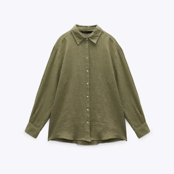 Samira Summer Blouse No Pockets - Olive Green