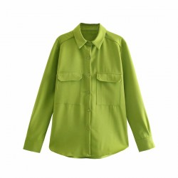 Aliyah Double Breasted Pocket Long Sleeve Blouse - Army Green