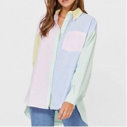 Hana Patch Striped Long Sleeve Blouse
