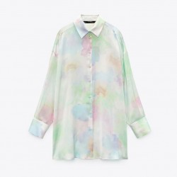 Maya Soft Rainbow Tie-Dyed Satin Blouse