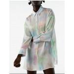Maya Soft Rainbow Tie-Dyed Satin Blouse