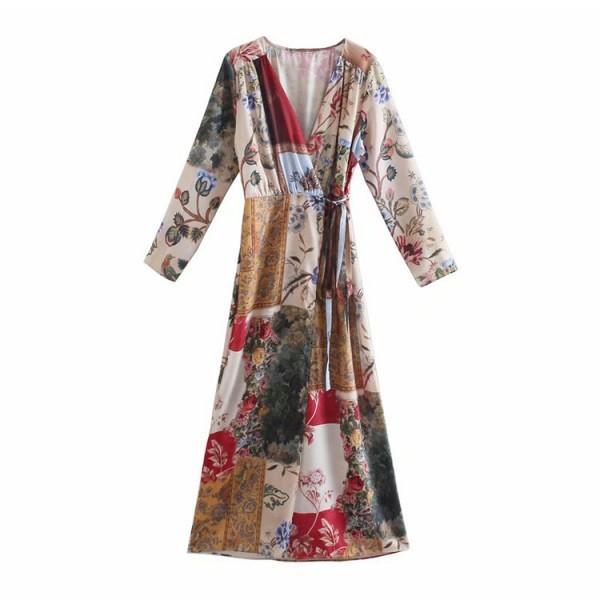 Constance Patch-work Floral Wrap Dress