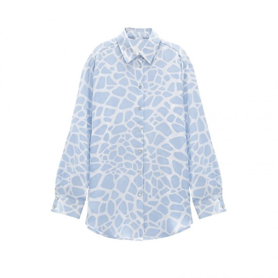 Emily Soft Satin Textured Blouse - Blue