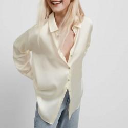 Emily Soft Satin Plain Blouse - Beige