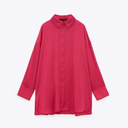 Emily Soft Satin Plain Blouse - Fuchsia Pink