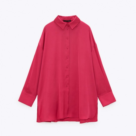 Emily Soft Satin Plain Blouse - Fuchsia Pink