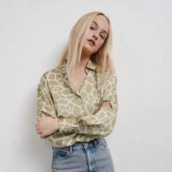 Emily Soft Satin Textured Blouse - Beige