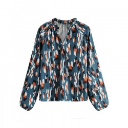Ruhil Spotted Lantern Sleeve Blouse