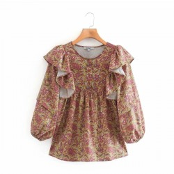 Liyana Summer Floral Puff Sleeve Blouse