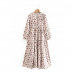 Emma Diamond Floral Long Sleeve Summer Dress