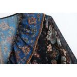 Nabeela Batik Printed Pattern Puff Wrist Long Dress