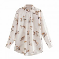 Jodie Tiger Design Blouse - Pink