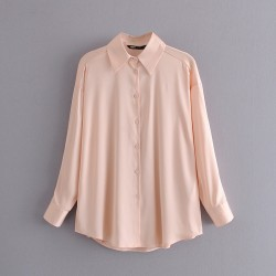 Jennifer Plain Long Sleeve Shirt - Peach