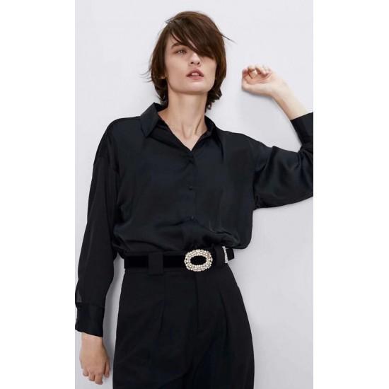 Jennifer Plain Long Sleeve Shirt - Black