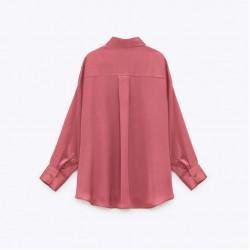 Jennifer Plain Long Sleeve Shirt - Blush Red