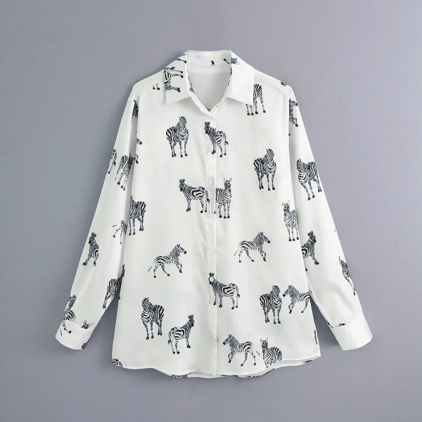 Amber Animal Printed Blouse - Jade White