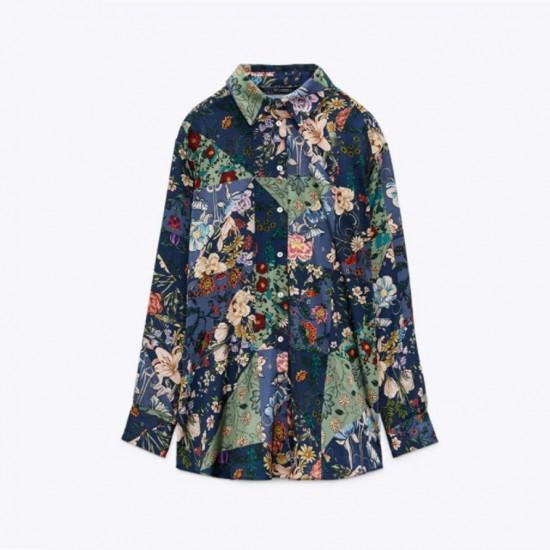 Gulya Floral Silk Lapel  Long Sleeve Blouse