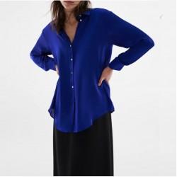 Hitomi Plain Silky Blouse - Azure Blue