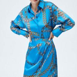 Zeyneb Blue Chain Printed Blouse