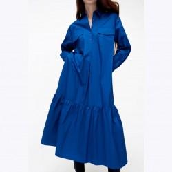 Satomi Plain Royal Blue Poplin Dress