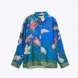 Safirah Sapphire Blue Heron Floral Printed Long Sleeve Blouse