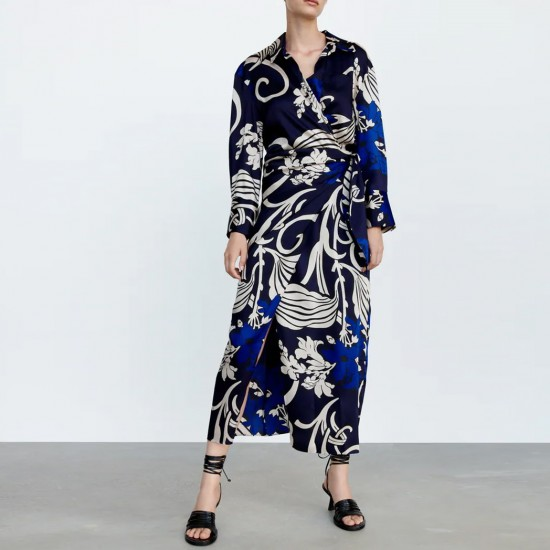 Ezra Blue Geometric Design Long Sleeve Wrap Dress