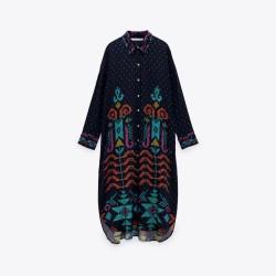 Lianna Black Sea Geometric Design Overflow tunic Blouse Dark Blue