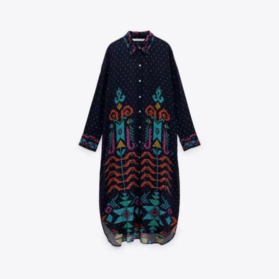 Lianna Dark Blue Sea Tribal Printed Overflow Tunic Blouse