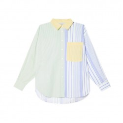 Cuddy Striped Long Sleeve Loose Oversize Blouse - Soft Green