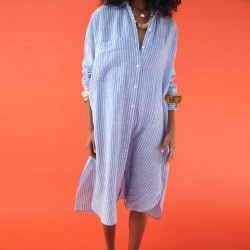 Alina Single Pocket Loose Long Sleeve Stripe dress - Blue