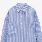 Alina Single Pocket Loose Long Sleeve Stripe Tunic - Blue