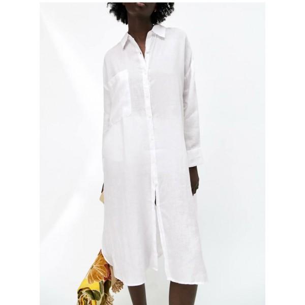 Alina Single Pocket Loose Long Sleeve Plain Tunic - White