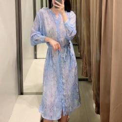 Naimah Animal Printed Blue Midi Dress With Hip Tie