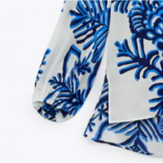 Jessy Blue Floral White Long Sleeve Blouse