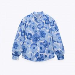Bianca Blue Floral Printed Long Sleeve Blouse