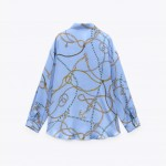 Riley Tie-Knot Rope Printed Satin Baby Blue Blouse