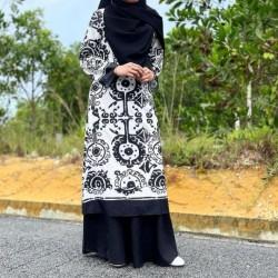 Madeline Iznik Print Black Dress