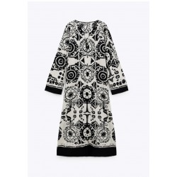 Madeline Iznik Print Black Dress
