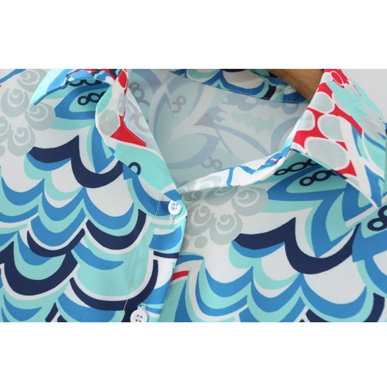Ashwin Blue Floral Geometric Printed Blouse Only