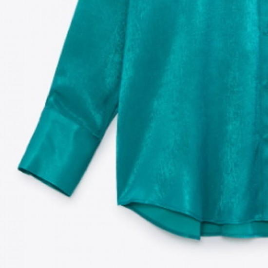 Tayra Strong Satin Long Sleeve Turquoise Blouse