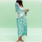 Destiny Flowy Geometric Print Long Sleeve Turqoise Kaftan Dress