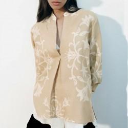 Evelyn Hem Tie Linen Printed Soft Brown Blouse